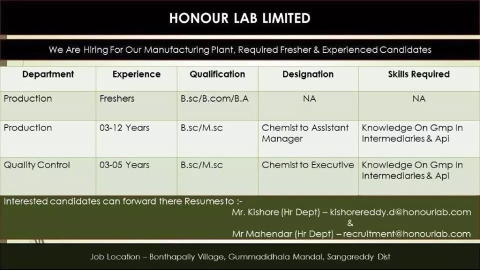 HONOUR LAB LIMITED - Multiple Openings for Freshers & Experienced - Production & Quality Control