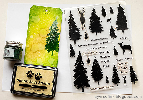 Layers of ink - Spring Forest Inky Tag Tutorial by Anna-Karin Evaldsson. Stamp trees from Simon Says Stamp Forest Scenery.