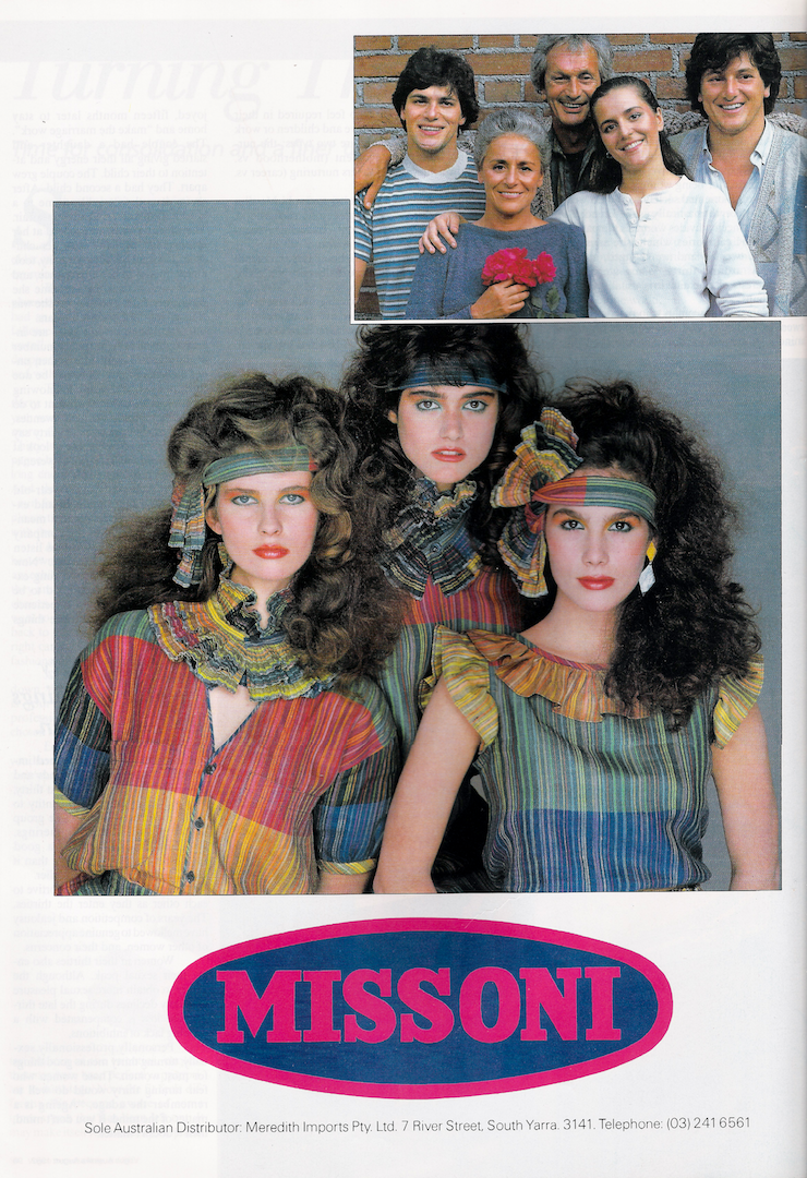 d29962a5733e Glossy Sheen  Missoni Advertisement - Vogue Australia August 1982