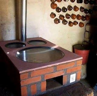 dapur dengan tungku kayu tampilan moderen