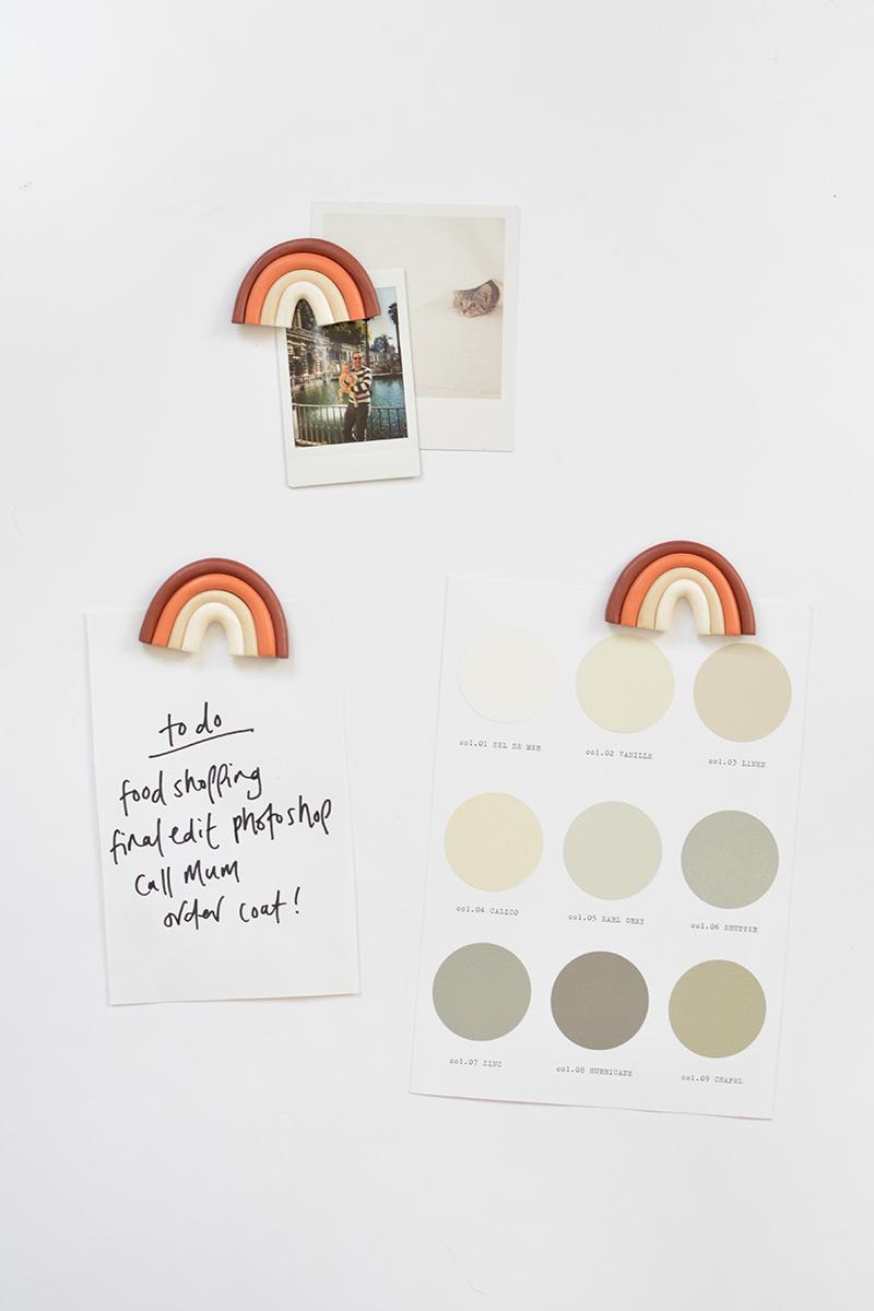 DIY clay rainbow fridge magnets