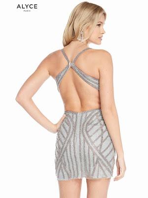 V-neck alyce Paris Short Dress Dark Silver Color Back side