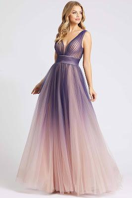 A-line Evening Dress Mac Guggal prom Dress Indigo Ombre Color