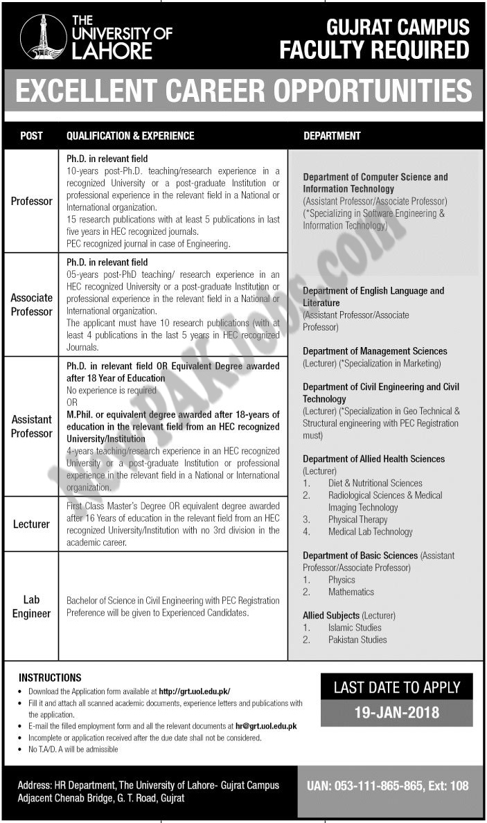 Latest Jobs in The University of Lahore  for Gujrat Campus 2018