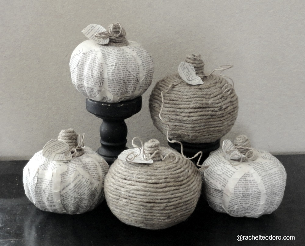 dollar store pumpkins with book page and twine