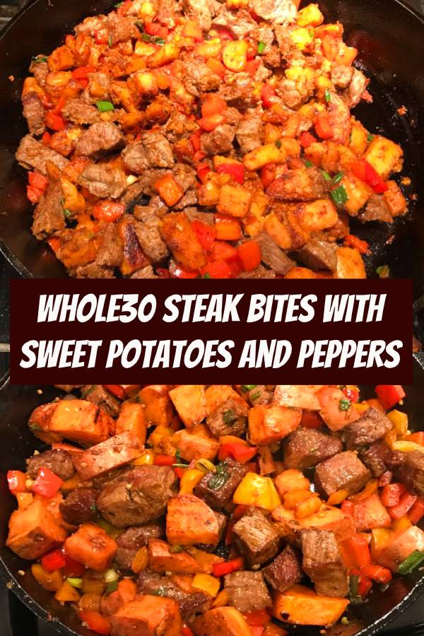 These Whole30 steak bites are packed with tons of flavor and huge pops of healthy vitamins and minerals thanks to colorful sweet potatoes, bell peppers, green onions, and fresh cilantro. This weeknight Whole30 dinner recipe takes one pan and is ready in under 45 minutes. It's an incredibly flavorful dinner you'll love whether you're on the Whole30 or not, and is also gluten free, dairy free, and totally kid friendly! #whole3 #steak #dinner