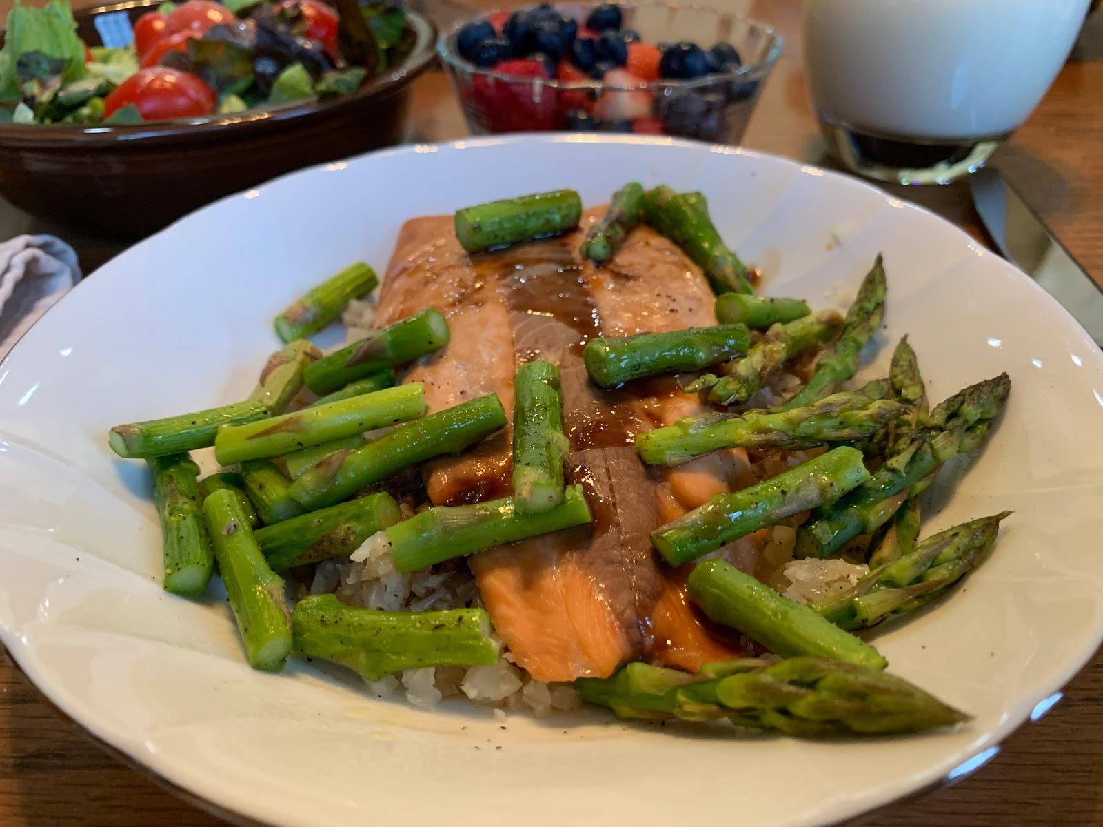 Honey Teriyaki Salmon With Cauliflower Rice