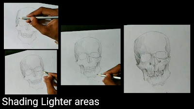 How to draw skull, step by step tutorial, easy to draw skull, easy Drawing tutorial, pencil drawing tutorial of skull