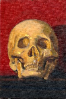 Oil painting of a plastic skul--viewed from the front--with a red background.