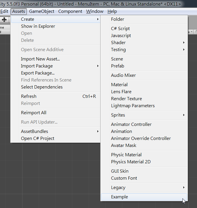 Unity Editor: Menu items