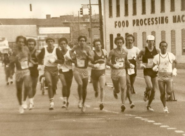 96dd7a1001 Steven Levin 3rd from left in lead pack of 1981 Baltimore City Marathon at  18 years old