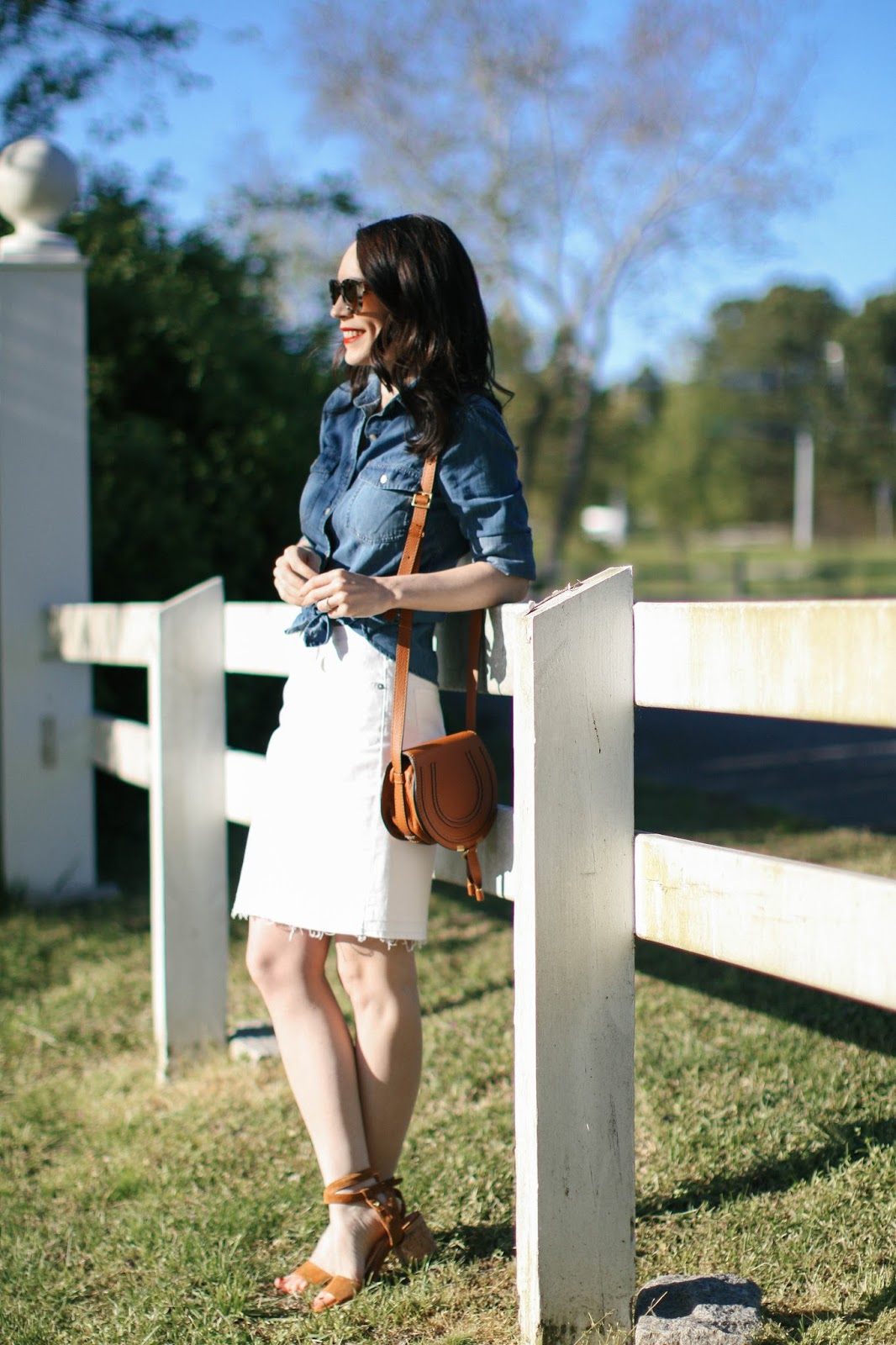 J. Crew white denim skirt