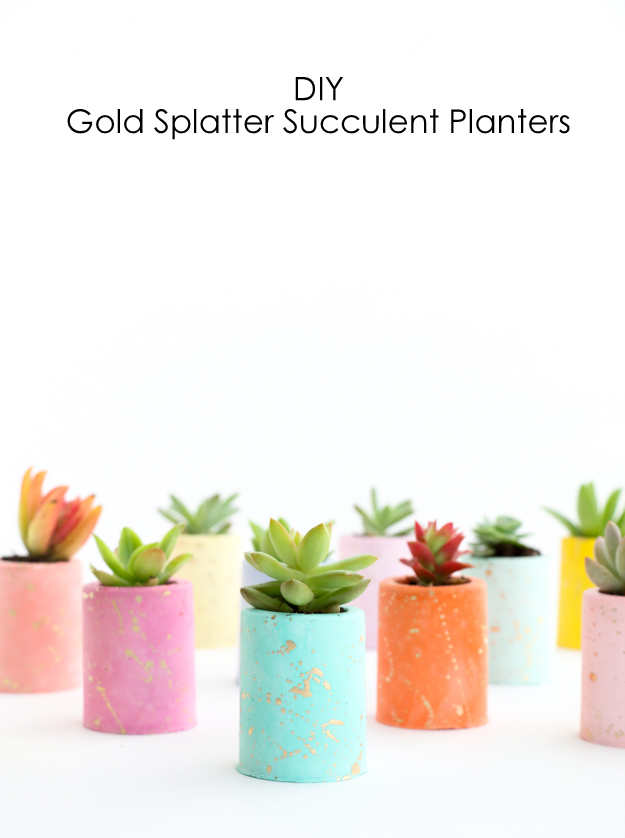 DIY Gold Splattered Pastel Colored Mini Plaster Planters - DIY gift ideas - Christmas gift idea - homemade - plaster succulent planters