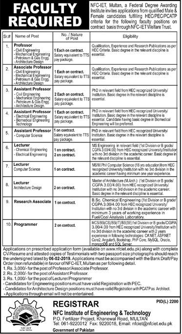 NFC Institute Of Engineering And Technology Multan jobs 2019 for Lecturer, Professor and others
