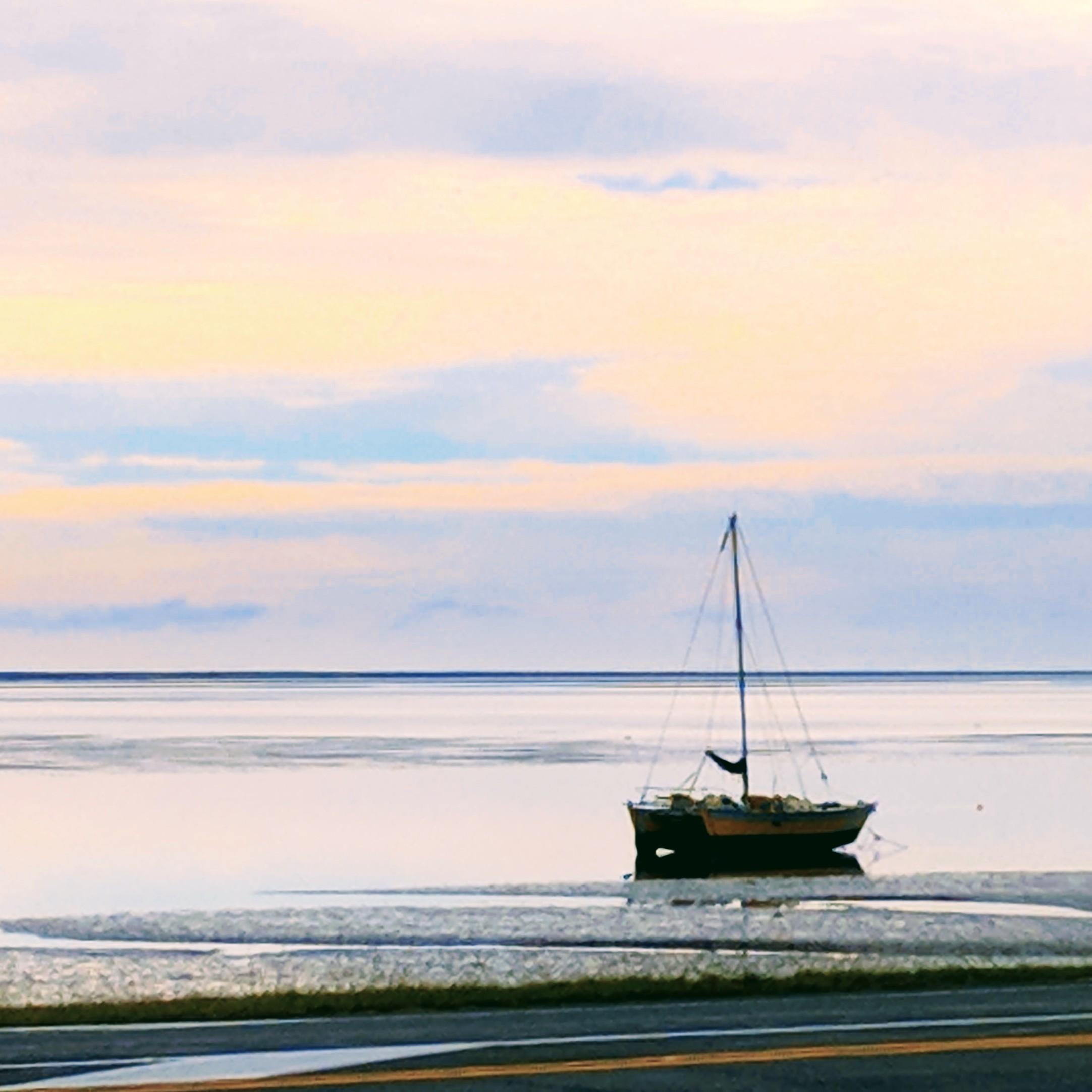 Low tide boat in Nelson