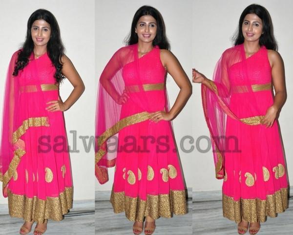 Rajsri Ponnappa Pink Salwar
