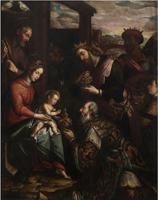Giovan Battista Secco detto il Caravaggino (replica da), Adorazione dei Magi, olio su tela, 189 x 148, 5 cm, Castiglione Olona, Chiesa Beata Vergine del Rosario, Cappella del Crocifisso.