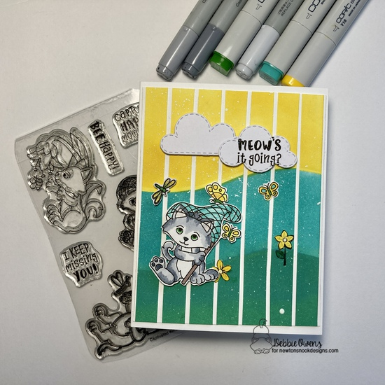 Meow's it going by Debbie features Hills & Grass, Captivated Kittens, and Sky Scene Builder by Newton's Nook Designs; #inkypaws, #newtonsnook, #catcards, #cardmaking