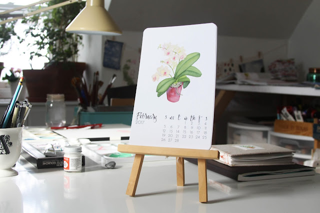 studio, artist studio, work space, calendar, 2017 calendar, watercolor calendar, Anne Butera, My Giant Strawberry