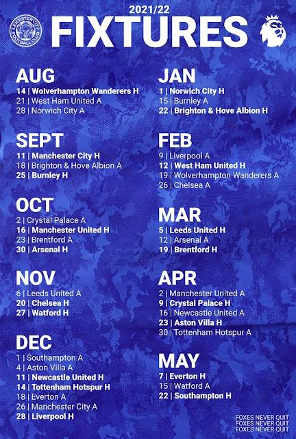 جدول مباريات ليستر سيتي فى الدوري الانجليزي للموسم2021/2022