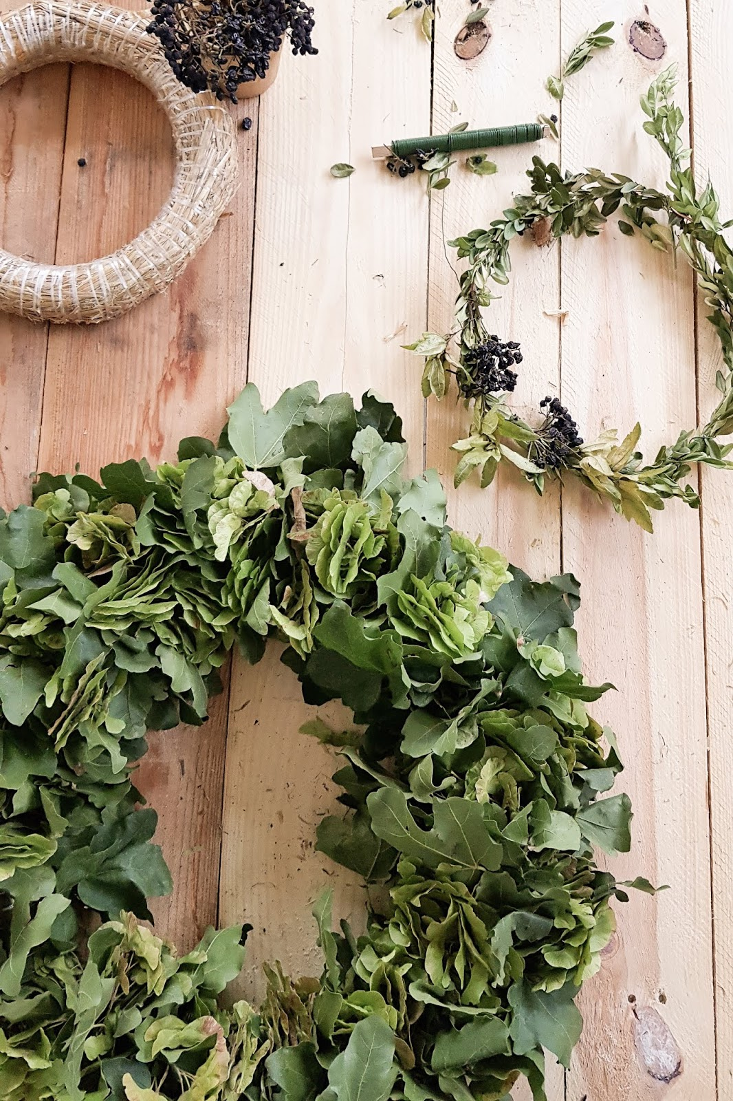 Ahornkranz binden Diy selber machen mit Ahorn Blätter Kranz Kränze Früchte
