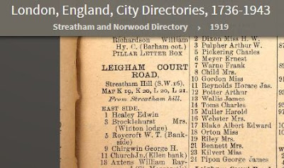 1919 Streatham Directory - 3 Leigham Court Road - resident is Mrs. Brockelhurst