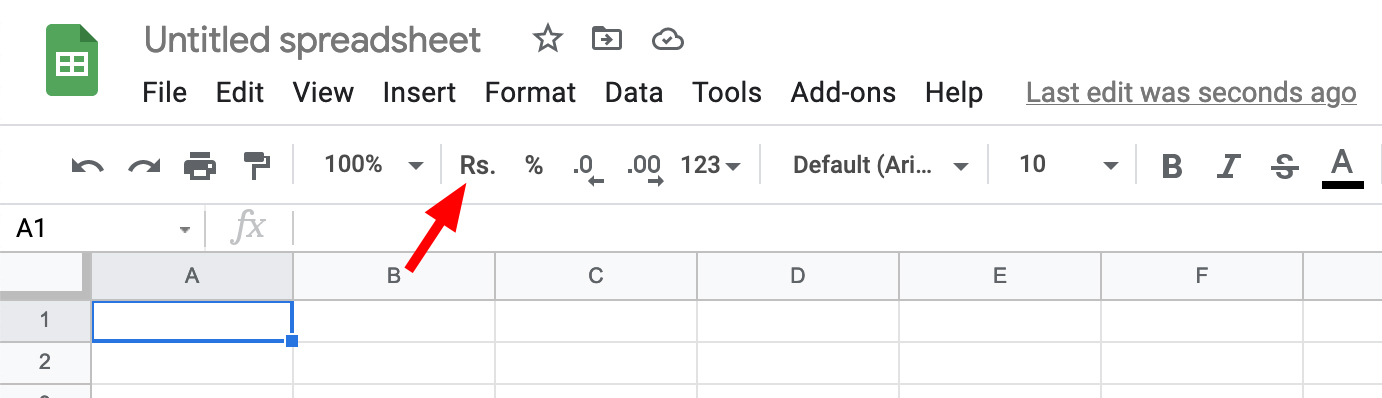 Google Sheets Currency  Rupee