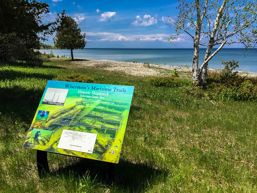 Interpretative Sign for the Grape Shot Shipwreck at Plum Island in Door County WI