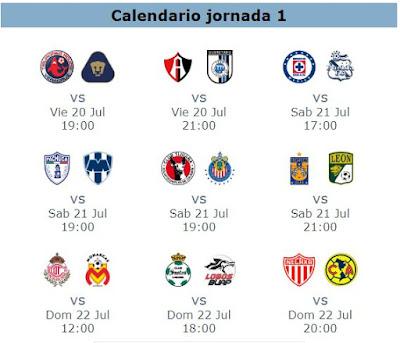 Calendario y trasmisiones en vivo de la jornada 1 del futbol mexicano