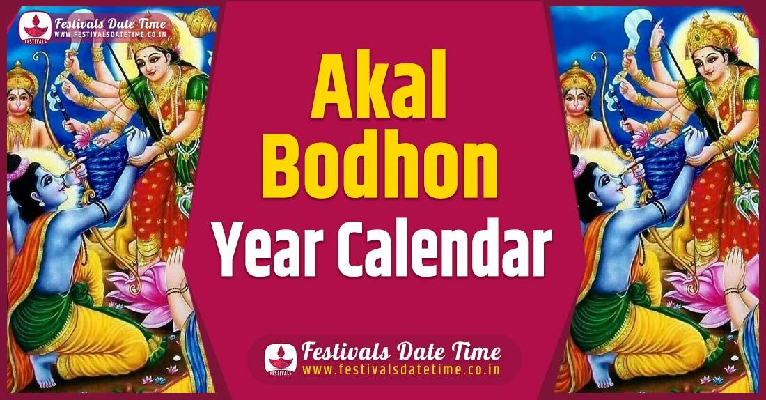 Akal Bodhon Year Calendar, Akal Bodhon Festival Schedule
