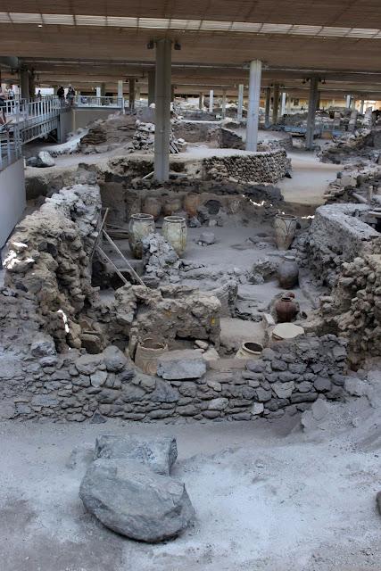 Greece, Santorini, Travel, akrotiri, ruins, house, kitchen, pots, pottery, storage
