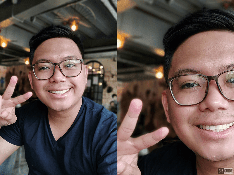 Selfie bokeh and the same cropped image