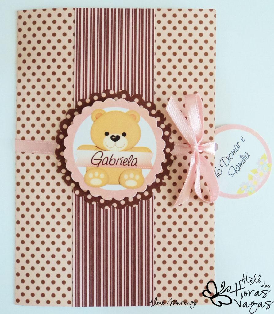 convite artesanal infantil aniversário ursinho urso poá marrom e rosa bebê 1 aninho