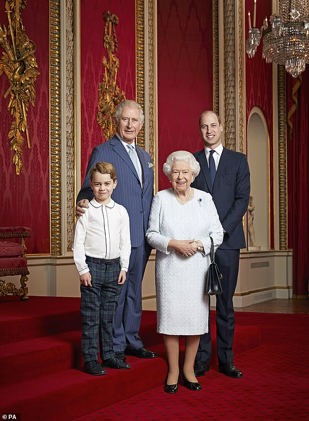 The photograph of the Queen, 93, alongside the Prince of Wales, Duke of Cambridge and six-year-old Prince George