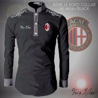 Jual Baju Koko Kemeja Collar AC Milan