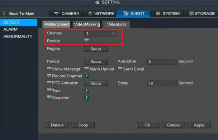 Dahua: Set up motion detection via NVR (locally)