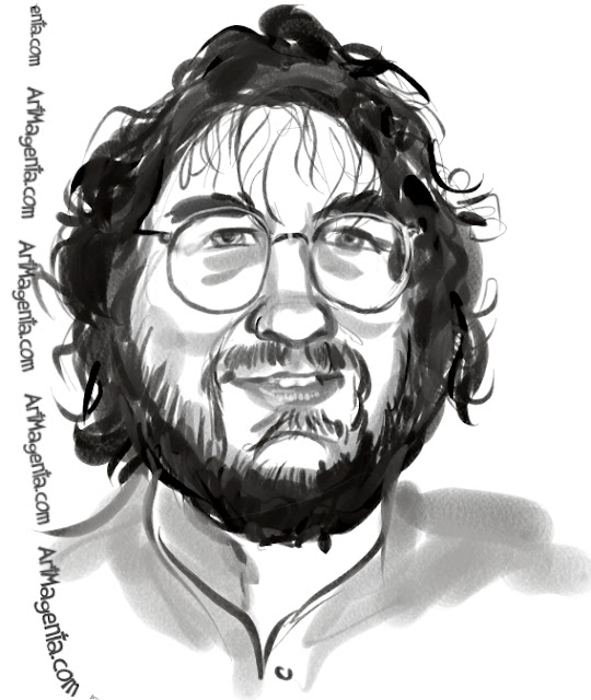 Peter Jackson caricature cartoon. Portrait drawing by caricaturist Artmagenta
