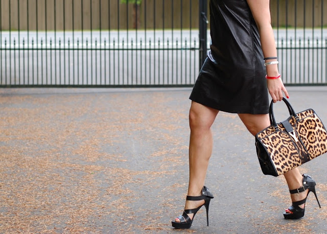 Diane von Furstenberg leather dress,  Leopard Saint Laurent Cabas Chyc tote and Burberry Prorsum heels.