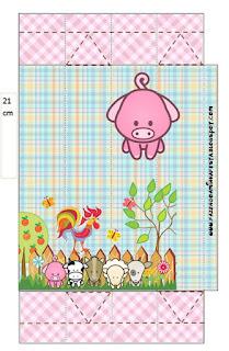 Cajas de La Granja Bebés en Rosa para imprimir gratis.