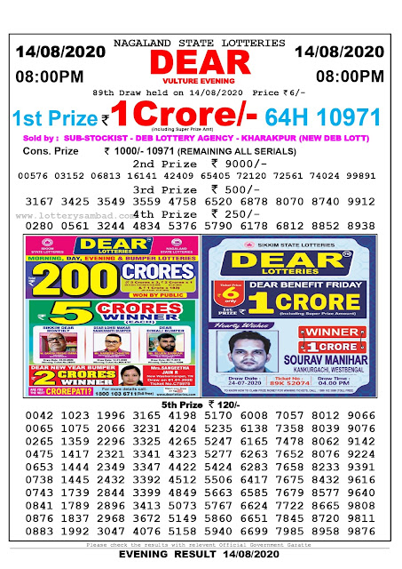 Lottery Sambad Result 14.08.2020 Dear Vulture Evening 8:00 pm