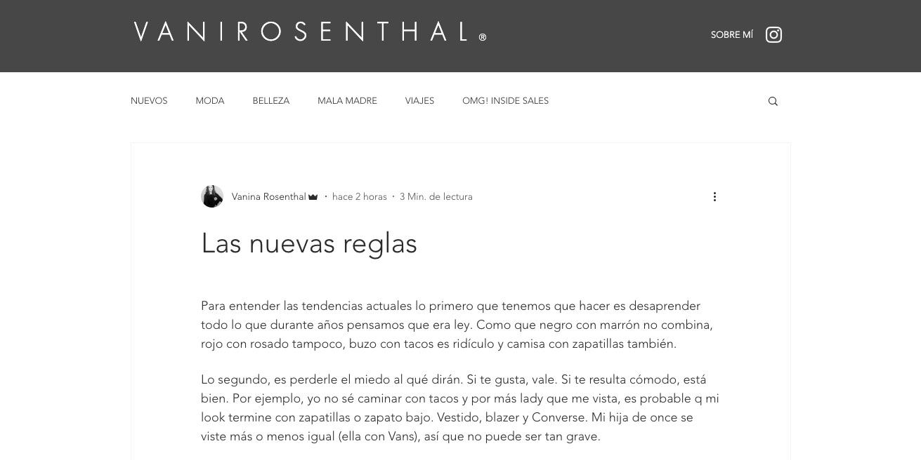 texto sobre tendencias en sitio web de Vani Rosenthal