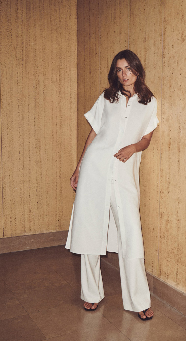 Massimo Dutti Shirt Dress with Belt, Loose-Fitting Trousers, and Black Leather Quilted Strap Sandals.