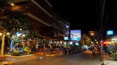 Arriving in Chiang Mai. Loi Kroh road at night