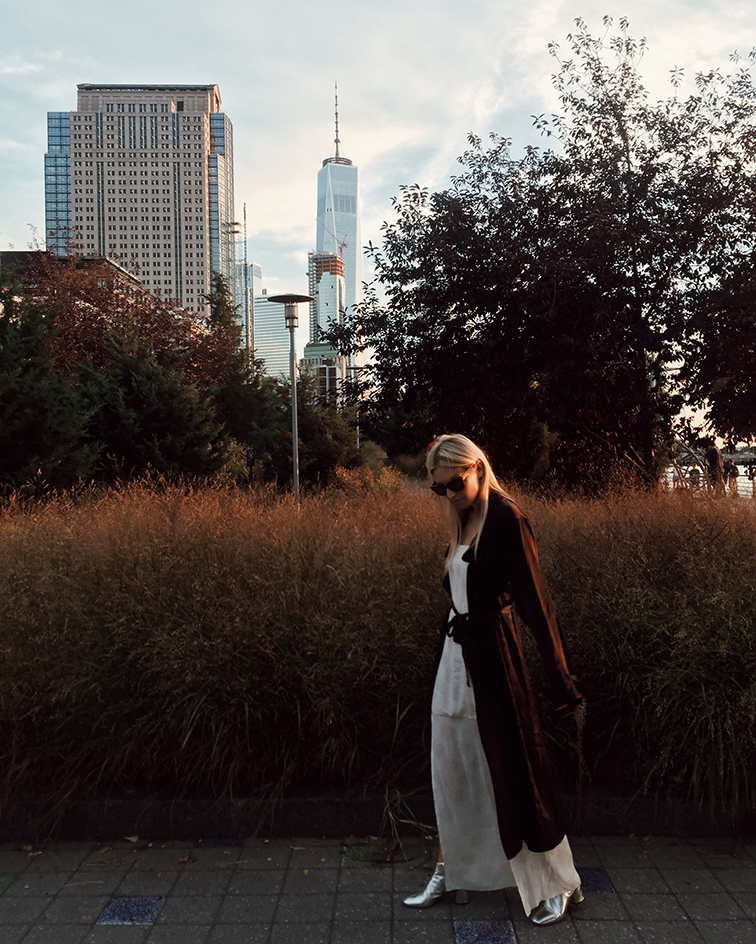 heleneisfor, aritzia, marc jacobs silver booties, new york city, style inspiration, golden hour