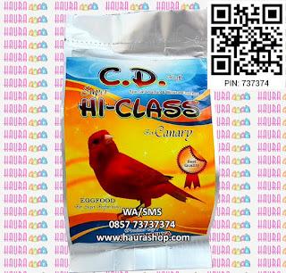 CD / Cede Canary Super Hi-Class adalah pakan untuk burung kenari yang terbuat dari telur pilihan. Mengandung Protein, Vitamin Mineral, dan Asam Amino yang sangat diperlukan untuk menambah asupan nutrisi harian burung Anda. Selain itu juga dilengkapi dengan Biji Milet Merah, Niger Seed dan bahan-bahan lainnya.