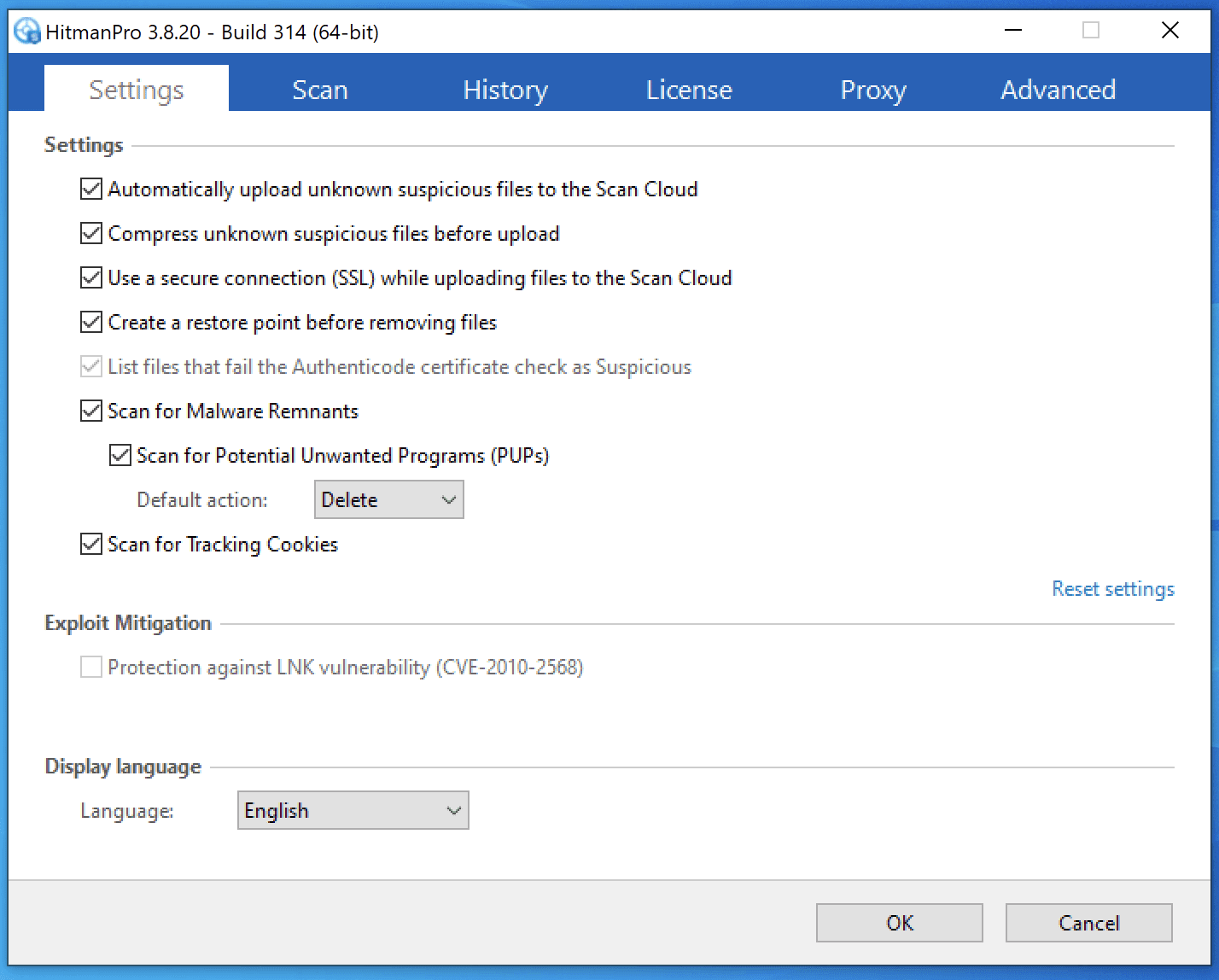 HitmanPro Settings Screenshot