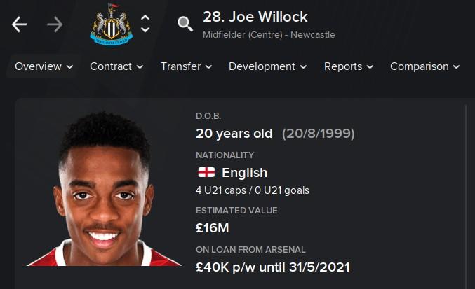 Joe Willock FM21 Football Manager 2021 Wonderkid