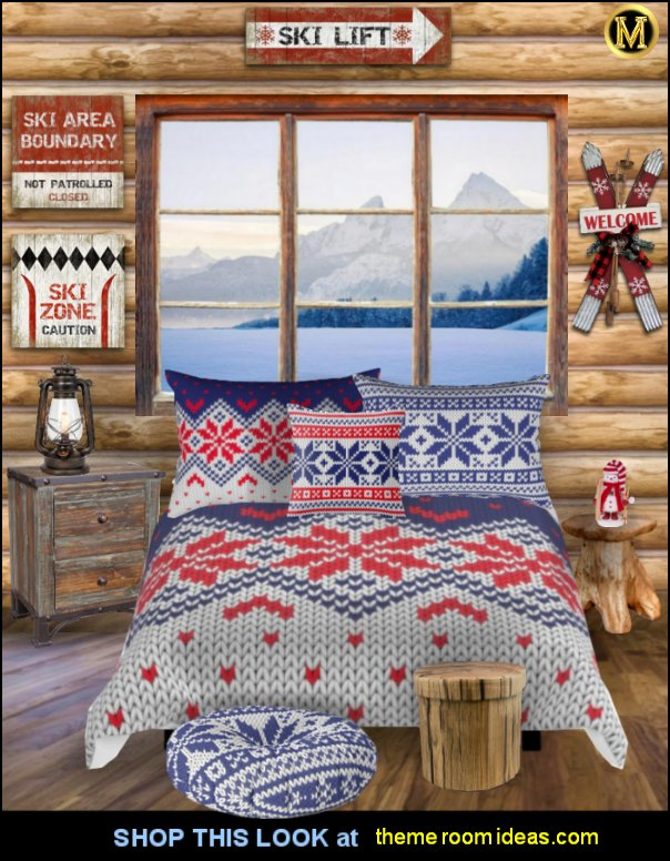 ski bedroom decorating ski log cabin bedroom Winter knitted pattern bedding ski cabin decor