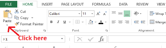 Click the dropdown button next to Paste