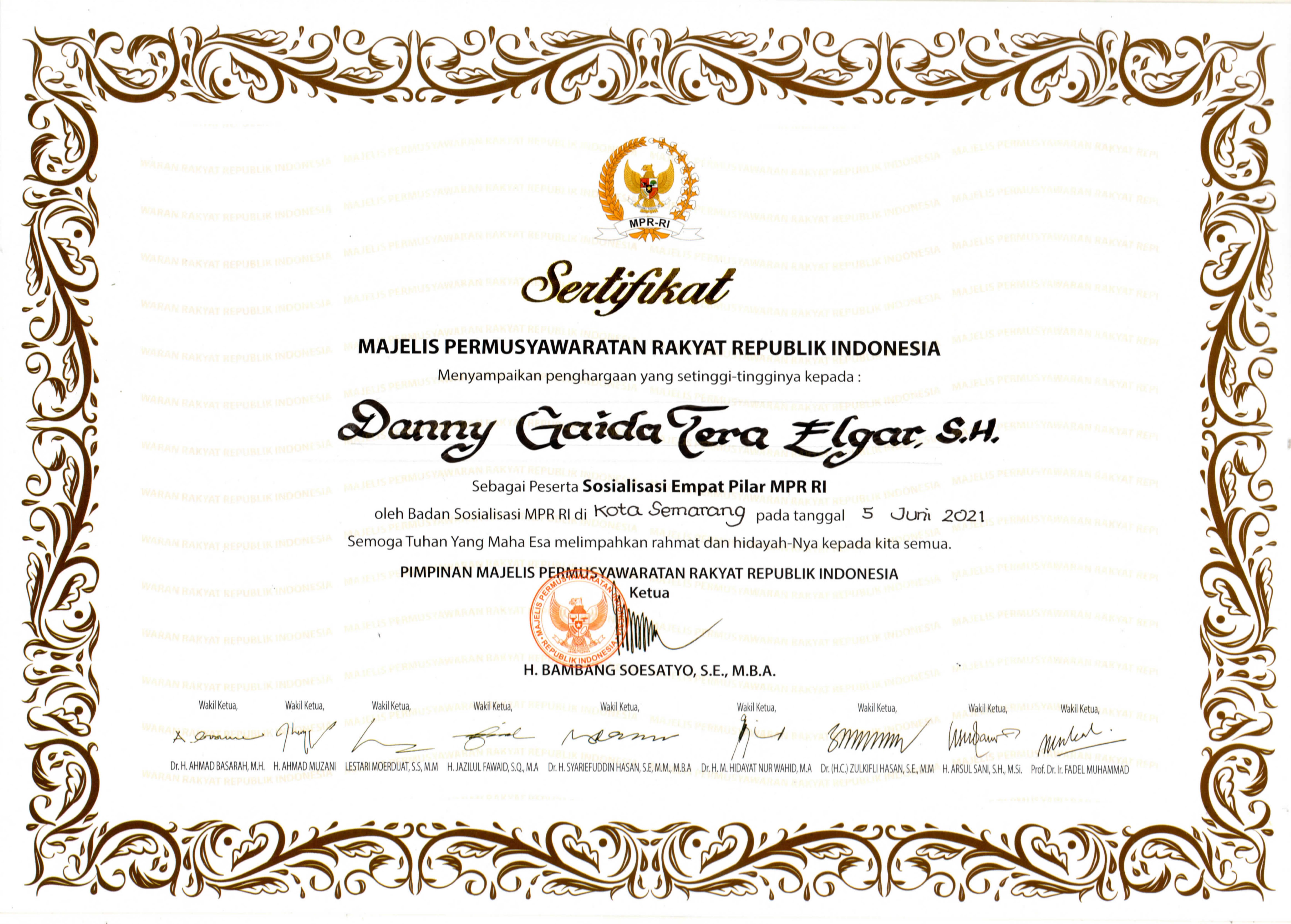 Sertifikat Majelis Permusyawaratan Rakyat Republik Indonesia (SOSIALISASI 4 PILAR MPR RI)